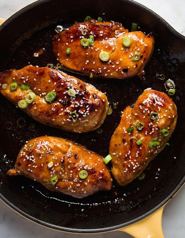 """<p>This super-simple recipes glazes chicken breasts in a delicious sauce of soy sauce, honey, and lime juice.</p><p>Get the recipe from <a href=""""https://www.delish.com/cooking/recipe-ideas/recipes/a45708/baked-honey-garlic-chicken-recipe/"""" rel=""""nofollow noopener"""" target=""""_blank"""" data-ylk=""""slk:Delish"""" class=""""link rapid-noclick-resp"""">Delish</a>.</p><p><strong><a href=""""https://www.amazon.com/Creuset-Enameled-Cast-Iron-9-Inch-Skillet/dp/B00005QFSP/"""" rel=""""nofollow noopener"""" target=""""_blank"""" data-ylk=""""slk:BUY NOW"""" class=""""link rapid-noclick-resp"""">BUY NOW</a> <em>Le Creuset Cast-Iron 9"""" Skillet, $140, </em></strong><em><strong>amazon.com</strong></em></p>"""