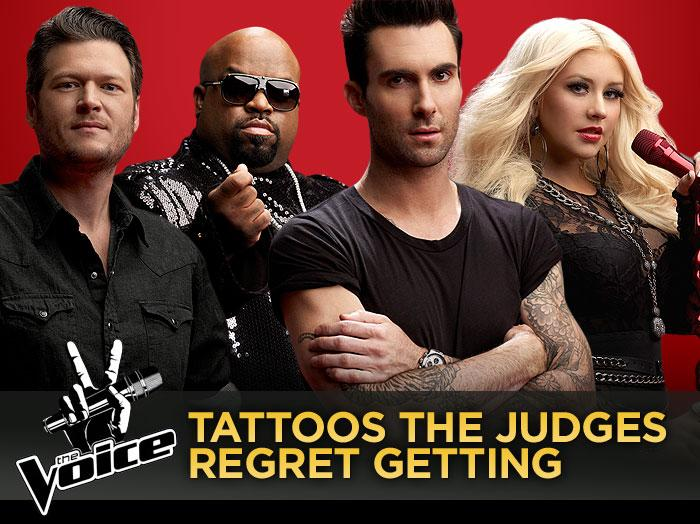 """There's no shortage of ink amongst """"The Voice"""" judging panel -- Adam Levine, Blake Shelton, Cee Lo Green, and Christina Aguilera all rock multiple tattoos. But with so many tats, there's bound to be one that they regret going under the needle for. Click through this slideshow to see the judges' unfortunate choices."""