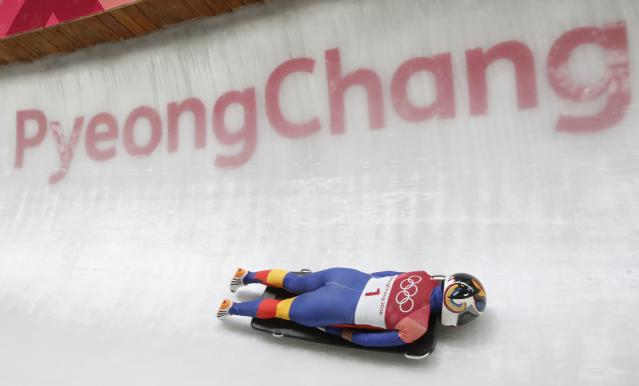 Pyeongchang 2018 Winter Olympics Skeleton - Pyeongchang 2018 Winter Olympics - Women's Finals - Olympic Sliding Centre - Pyeongchang, South Korea - February 17, 2018 - Maria Marinela Mazilu of Romania competes. REUTERS/Arnd Wiegmann