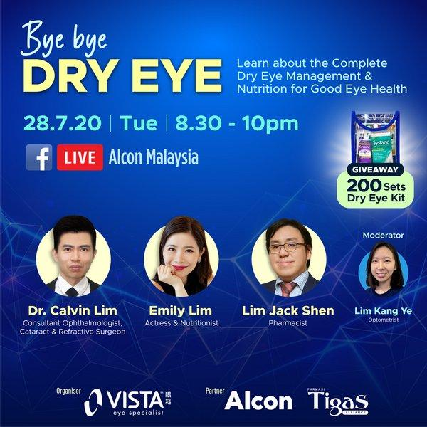Join Dr. Calvin Lim (from left), noted nutritionist and actress Emily Lim and Pharmacist Lim Jack Shen in our Facebook Live by searching Alcon Malaysia!