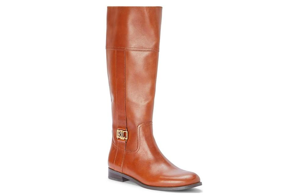 riding boots, tan, brown, leather, ralph lauren