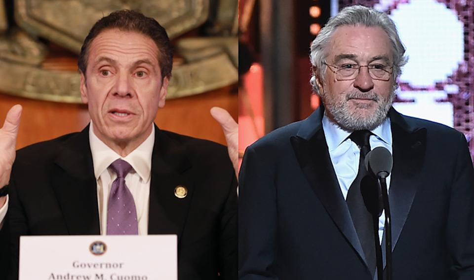 Andrew Cuomo approves of Robert De Niro playing him in a coronavirus movie. (Photos: Getty Images)