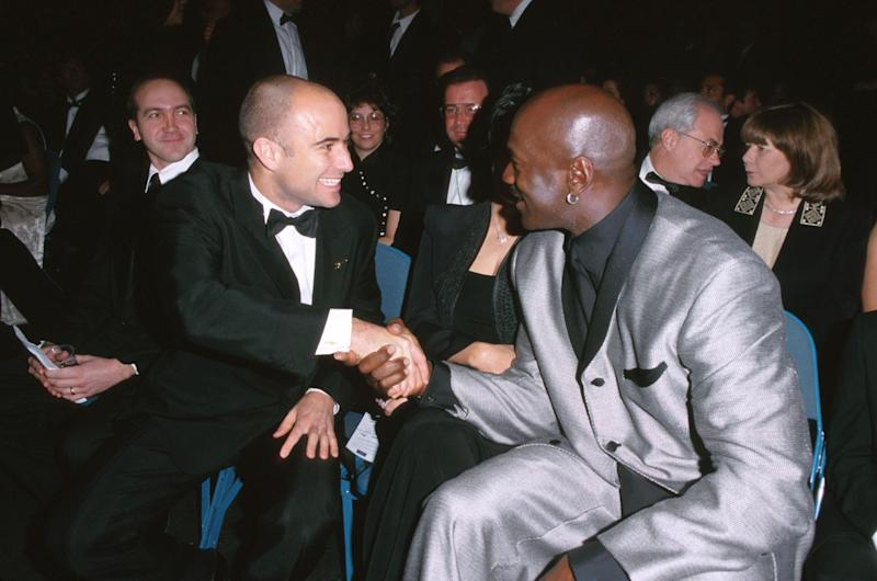 Andre Agassi and Michael Jordan greet each other during the 2000 ESPY Awards at MGM Grand Hotel in Las Vegas. (Photo by SGranitz/WireImage)