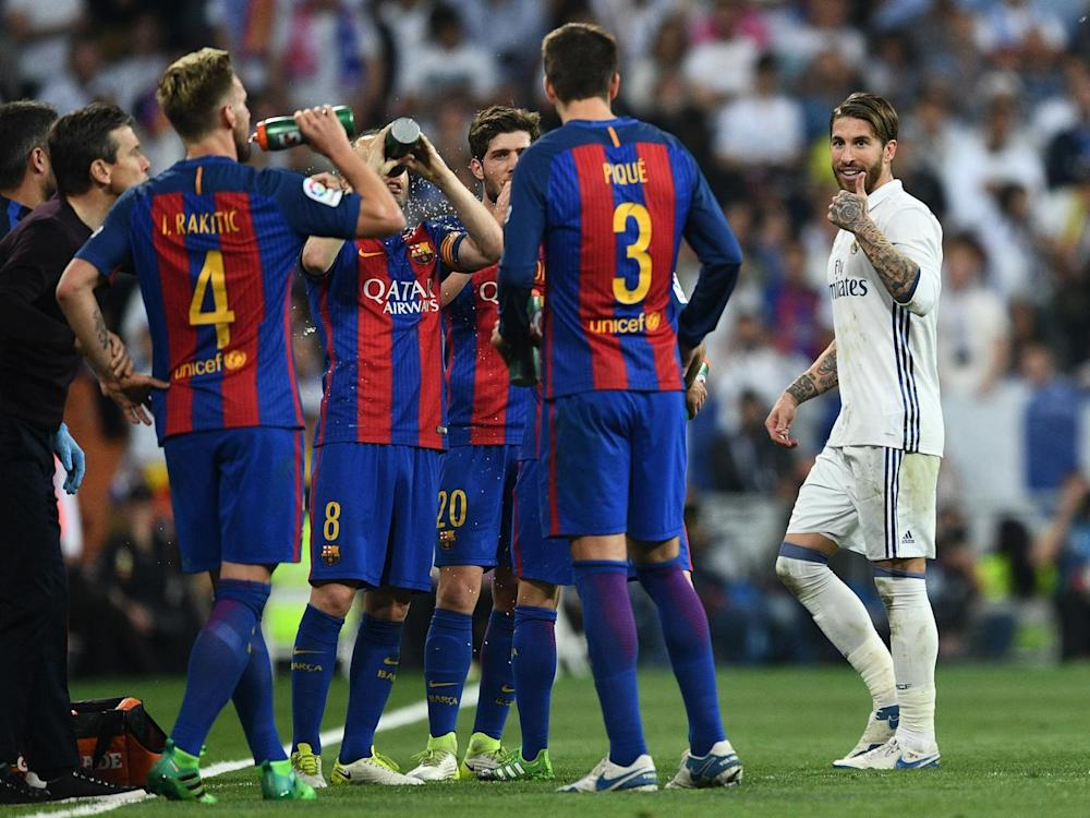 Ramos gestured to Pique after being sent off (Getty)