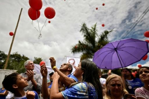 Mourners in Brumadinho, Brazil released red balloons on January 25, 2020 in memory of the 270 people killed following a massive dam breach