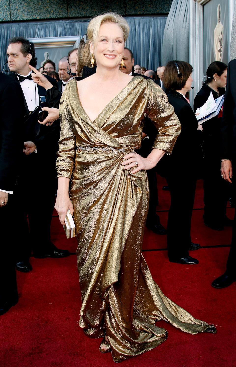 Meryl arrived at the 2012 Oscars wrapped in a gold, metallic Lanvin gown. The actress left the ceremony with a best actress award for 'Iron Lady'.
