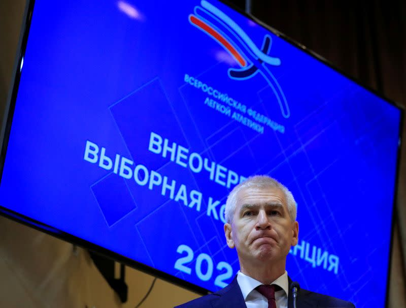 FILE PHOTO: Russian Sports Minister Oleg Matytsin attends a conference to elect a new president of Russia's athletics federation at the Russia's Olympic Committee building in Moscow