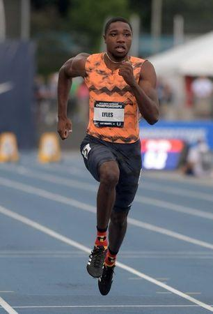 Jun 22, 2018; Des Moines, IA, USA; Noah Lyles wins 100m semifinal in 9.89 during the USA Championships at Drake Stadium. Mandatory Credit: Kirby Lee-USA TODAY Sports