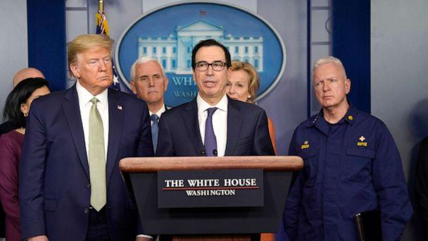 PHOTO: Treasury Secretary Steven Mnuchin speaks during a press briefing with the coronavirus task force, at the White House, March 17, 2020. (Evan Vucci/AP)