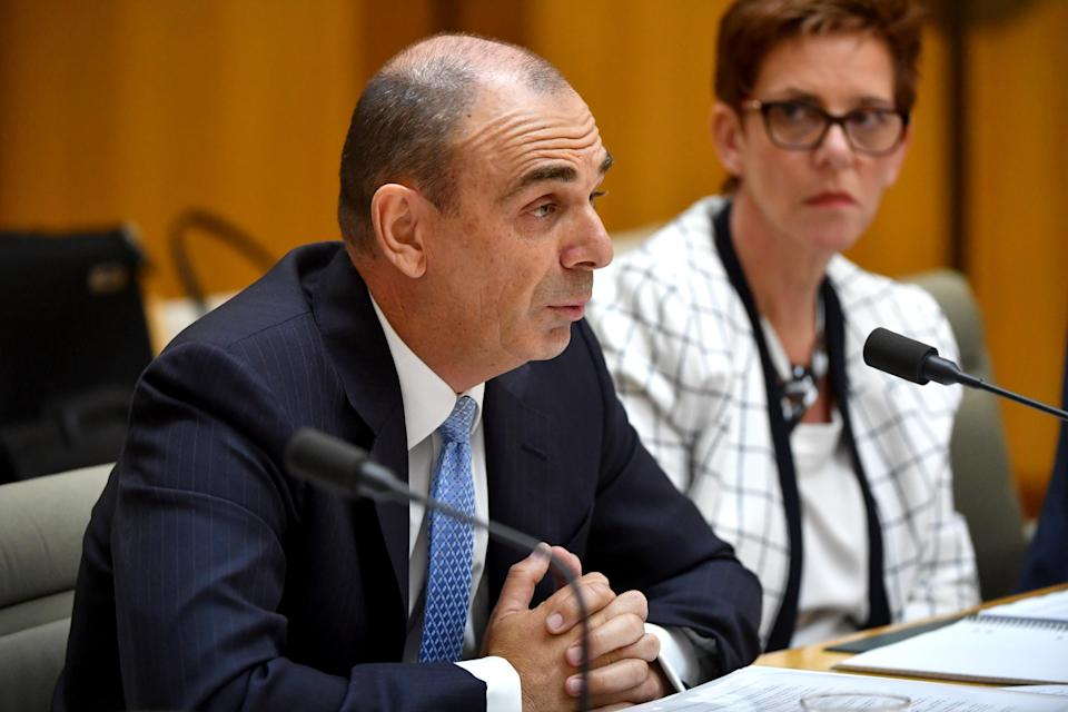 Australian Prudential Regulation Authority chairman Wayne Byres appears before the Standing Committee on Economics at Parliament House in Canberra, Wednesday, March 28, 2018. <em>(AAP Image/Mick Tsikas)</em>
