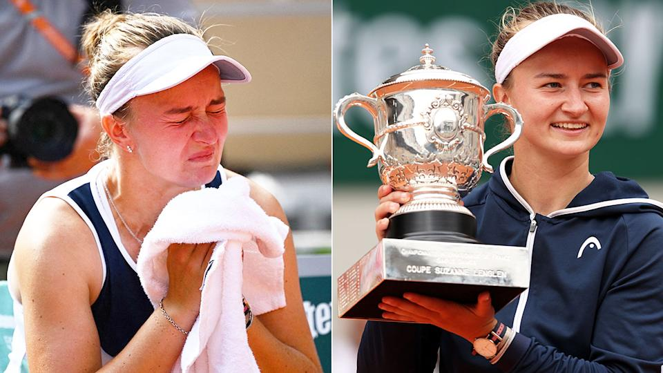 Pictured here, a teary Barbora Krejcikova holds the French Open trophy aloft.