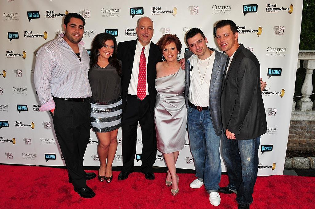 """The soiree was appropriately held at The Brownstone -- a banquet facility run by the Manzo family -- in Paterson, New Jersey. From left to right: Vito Scalia, Lauren Manzo, Al Manzo, Caroline Manzo, Christopher Manzo, and Albie Manzo. Brian Killian/<a href=""""http://www.wireimage.com"""" target=""""new"""">WireImage.com</a> - May 3, 2010"""