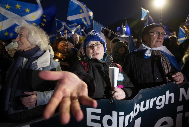 Pro-EU campaigners take part in a 'Missing EU Already' rally outside the Scottish Parliament, Edinburgh, organised by the Edinburgh Yes Hub, which backs Scottish independence, ahead of the UK leaving the European Union at 11pm on Friday.
