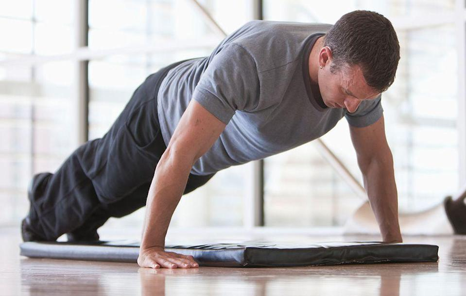 """<p><strong>Directions:</strong> Warm up for 5 minutes. Then do the following exercises in the order shown.</p><ol><li>Row, 100 meters, as fast as you can</li><li>Bodyweight squat, 5 reps</li><li><a href=""""http://www.menshealth.com/fitness/10-secrets-to-the-perfect-pushup"""" rel=""""nofollow noopener"""" target=""""_blank"""" data-ylk=""""slk:Pushup"""" class=""""link rapid-noclick-resp"""">Pushup</a>, 5 reps</li><li><a href=""""http://www.menshealth.com/exercise/feet-elevated-mountain-climber"""" rel=""""nofollow noopener"""" target=""""_blank"""" data-ylk=""""slk:Feet-elevated mountain climber"""" class=""""link rapid-noclick-resp"""">Feet-elevated mountain climber</a>, 5 reps</li></ol><p>That's 1 round. Repeat for the following rounds, resting as needed, but adjust the number of reps according to the directions below.</p><p>Round 2: Row 200 meters, then do 10 reps of each move</p><p>Round 3: Row 300 meters, then do 15 reps of each move</p><p>Round 4: Row 200 meters, then do 10 reps of each move</p><p>Round 5: Row 100 meters, then do 5 reps of each move</p><p>Finish with a 60-second plank.</p>"""