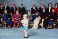 <p>The same pair his father, Prince William, wore for Prince Harry's christening in 1984! [Photo: Getty] </p>