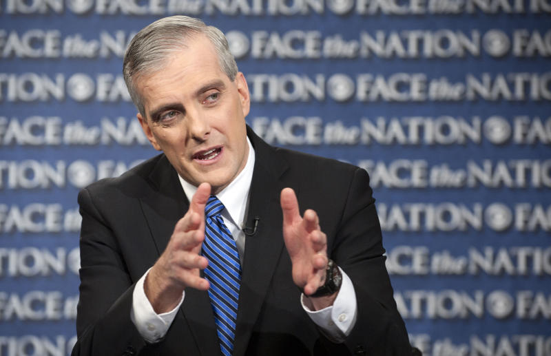 "In this Sunday, Feb. 17, 2013, file photo provided by CBS News new White House Chief or Staff Denis McDonough speaks on CBS's ""Face the Nation"" in Washington. On talk shows Sunday McDonough said Obama is concerned about the effect the automatic budget cuts, scheduled for next month, will have on America's middle class. He said the economy has been getting stronger over the past few months, and cited improvements in housing, the stock market and consumer confidence. McDonough also said the White House will push for what he calls a reasonable amount of spending cuts coupled with additional tax revenue. (AP Photo/CBS News,Chris Usher)"