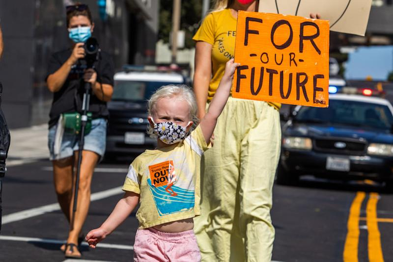 Even the little ones took part in the weekend march. Source: Getty
