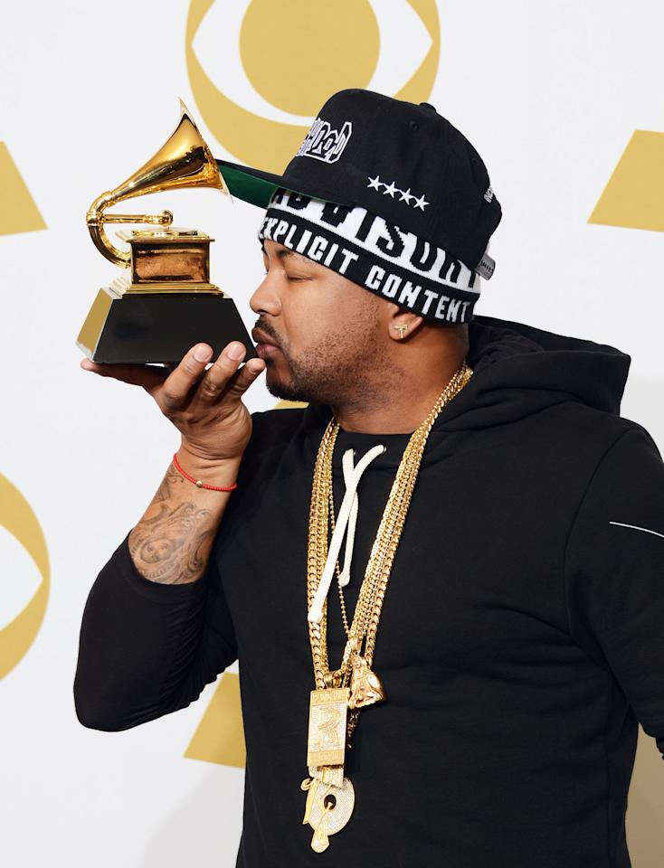 The Dream, winner of Best Rap/Sung Collaboration and Best Rap Performance, poses in the press room at the 55th Annual Grammy Awards at the Staples Center in Los Angeles, CA on February 10, 2013.