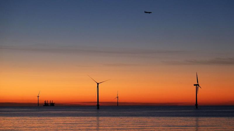 Wind turbines off Blyth in Northumberland.
