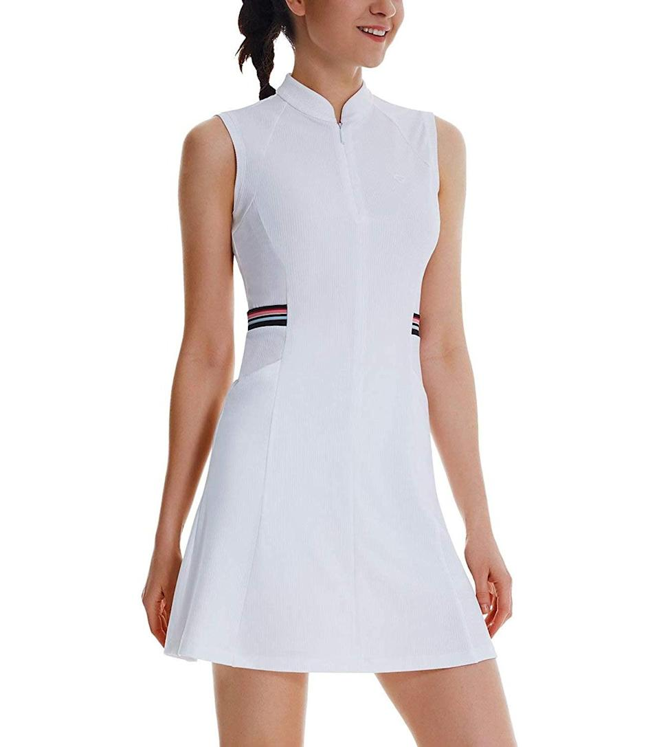 """<h2>Best For Golfing</h2><br><h3>Baleaf Tennis Golf Dress UPF 50+ Sleeveless with Inner Shorts<br></h3><br>Hit the links in style with this golf-inspired dress, featuring a sporty half-zip and accent stripes.<br><br><strong>What They're Saying:</strong> """"Very happy with this dress. The preppy details are adorable and it's lightweight and breathable. The length was perfect on me, it fits above the knee without being too short. (I wear with or without shorts under). Can wear for sports or as a casual staple.""""<br><br><strong>Baleaf</strong> Tennis Golf Dress UPF 50+ Sleeveless with Inner Shorts, $, available at <a href=""""https://amzn.to/3itZPLs"""" rel=""""nofollow noopener"""" target=""""_blank"""" data-ylk=""""slk:Amazon"""" class=""""link rapid-noclick-resp"""">Amazon</a>"""