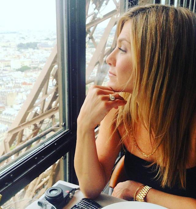 "<p>Speaking of romance, Jennifer Aniston dined with Justin Theroux at the Eiffel Tower in February 2016. He shared this photo of his new bride (and that blinding ring!) that he captioned with a rose. (Photo: <a href=""https://www.instagram.com/p/BByQX_mQ4nS/?hl=en"" rel=""nofollow noopener"" target=""_blank"" data-ylk=""slk:Justin Theroux via Instagram"" class=""link rapid-noclick-resp"">Justin Theroux via Instagram</a>) </p>"