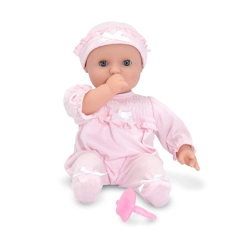 """Toddlers love to use their imagination to follow in your footsteps. Your little one will love&nbsp;<strong><a href=""""https://amzn.to/344cw7k"""" target=""""_blank"""" rel=""""noopener noreferrer"""">this adorable baby doll</a></strong>. Better yet,&nbsp;it is made without the dreaded small accessories that come along with many dolls. <strong><a href=""""https://amzn.to/344cw7k"""" target=""""_blank"""" rel=""""noopener noreferrer"""">Get it on Amazon</a></strong>."""