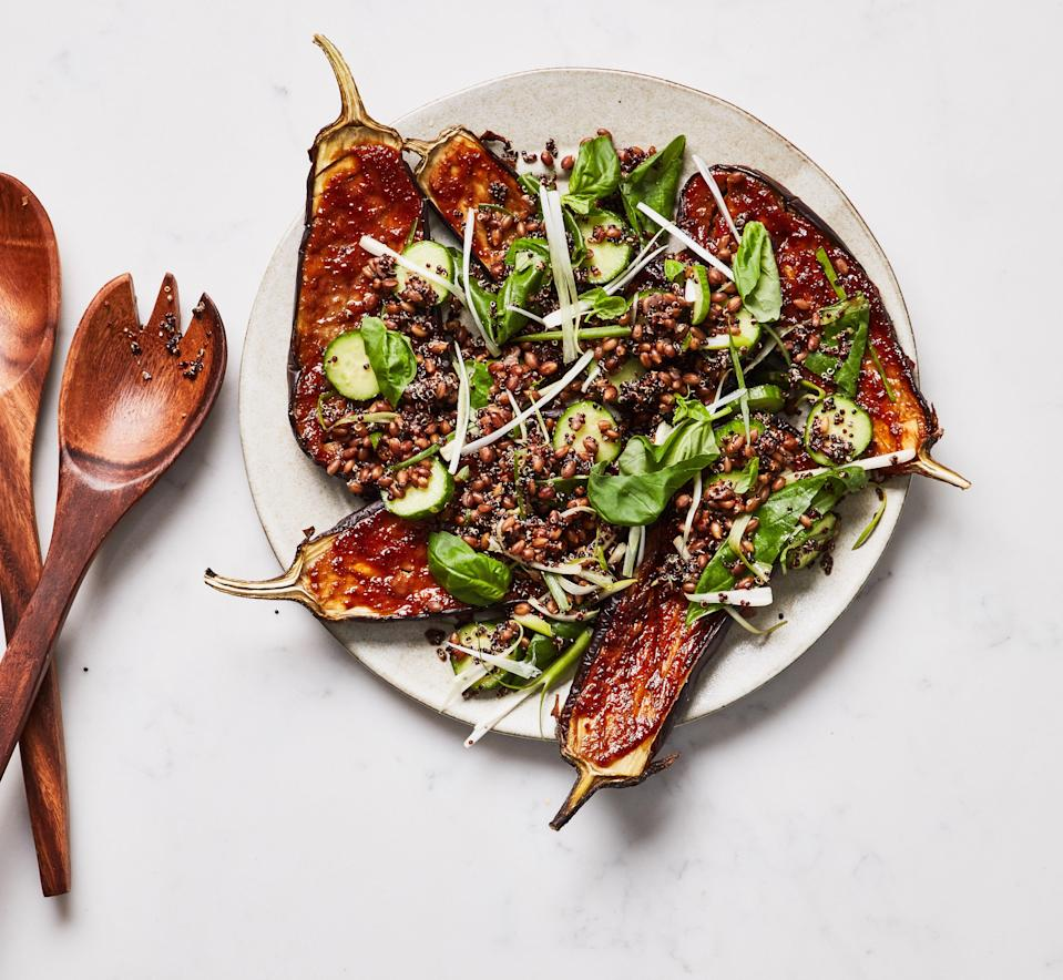 """This recipe is a great way to showcase the eggplants and basil you just hauled from the market and use up those leftover grains in the fridge. <a href=""""https://www.bonappetit.com/recipe/miso-glazed-eggplant-grain-bowls-with-basil?mbid=synd_yahoo_rss"""" rel=""""nofollow noopener"""" target=""""_blank"""" data-ylk=""""slk:See recipe."""" class=""""link rapid-noclick-resp"""">See recipe.</a>"""