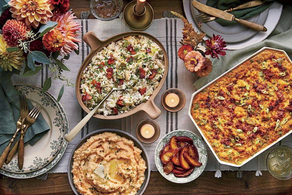"""<p><strong>Recipe:</strong> <a href=""""https://www.southernliving.com/recipes/sea-island-crab-fried-rice"""" rel=""""nofollow noopener"""" target=""""_blank"""" data-ylk=""""slk:Sea Island Crab Fried Rice"""" class=""""link rapid-noclick-resp"""">Sea Island Crab Fried Rice</a></p> <p>Sweet crab meat gets paired with freshly cooked vegetables and rice to make a dish like no other. Add a couple fried eggs on top for a shareable and irresistible brunch casserole.</p>"""