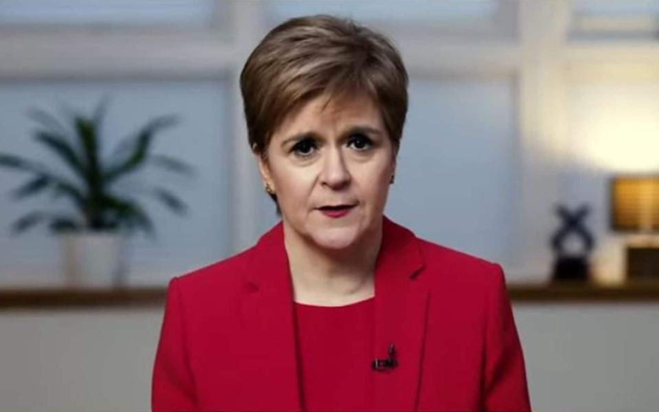 Nicola Sturgeon delivering her virtual SNP conference speech - Getty Images Europe