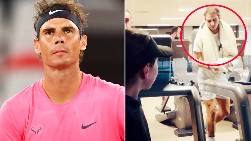 Rafael Nadal, pictured here in the gym at his tennis academy.