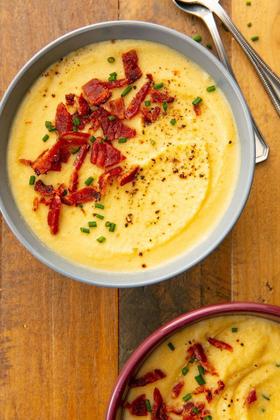 "<p>If you cook from our recipes, you know our love for cauliflower is strong. This soup is the perfect easy autumn dinner when you want to warm up. Vegetarian? Skip the bacon.</p><p>Get the <a href=""https://www.delish.com/uk/cooking/recipes/a28785652/cauliflower-leek-soup/"" rel=""nofollow noopener"" target=""_blank"" data-ylk=""slk:Cauliflower Leek Soup"" class=""link rapid-noclick-resp"">Cauliflower Leek Soup</a> recipe.</p>"