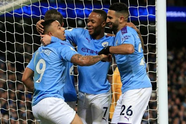 Home comforts: Gabriel Jesus (left) scored his first Manchester City goal at home since January (AFP Photo/Lindsey Parnaby)