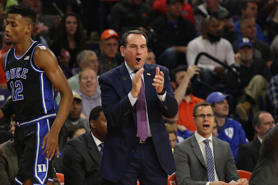 Duke's Mike Krzyzewski yells to his team during a college basketball game against Clemson on Jan. 14, 2020. (John Byrum/Icon Sportswire via Getty Images)