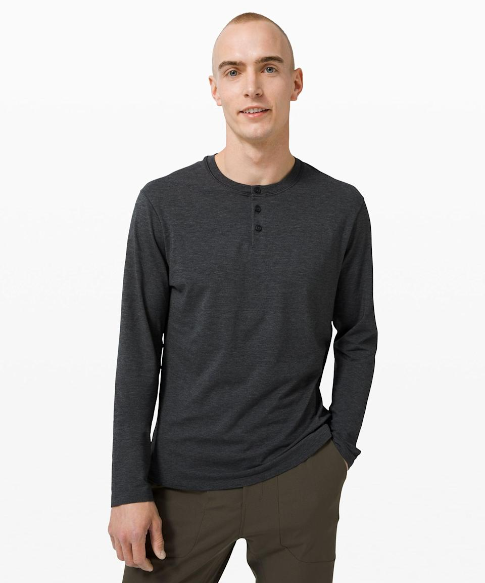 <p>They won't want to take off this <span>Lululemon 5 Year Basic Long Sleeve Henley</span> ($68).</p>