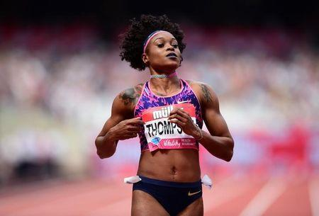 Athletics - London Anniversary Games - London, Britain - July 9, 2017 Jamaica's Elaine Thompson after winning the Women's 100m Hurdles final REUTERS/Hannah McKay