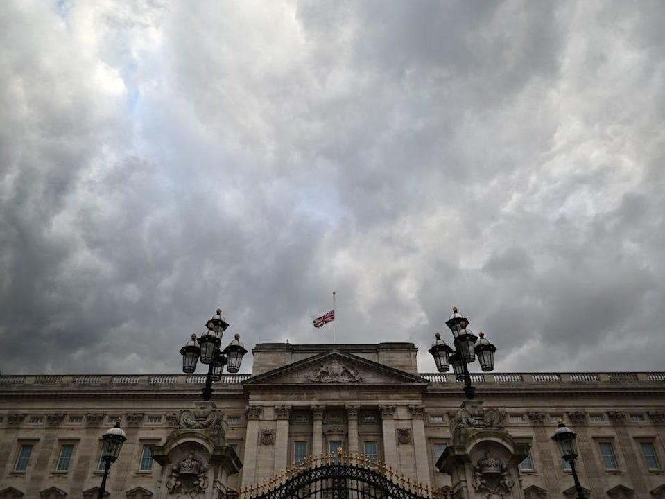The Union Flag flies at half-mast at Buckingham Palace in central London on April 9, 2021 after the announcement of the death of Britain's Prince Philip, Duke of Edinburgh.