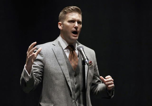 "FILE - In this Oct. 19, 2017, file photo, White nationalist leader Richard Spencer speaks at the University of Florida in Gainesville, Fla. A federal magistrate judge has agreed to let an attorney withdraw from representing Spencer in a lawsuit over violence that erupted at a rally in Virginia nearly three years ago. U.S. Magistrate Judge Joel Hoppe's order on Monday, June 22, 2020, leaves Spencer to defend himself against the lawsuit, which names him as one of the organizers of the white nationalist ""Unite the Right"" rally in Charlottesville in August 2017. (AP Photo/Chris O'Meara, File)"