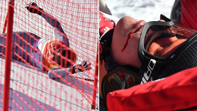 <p>Russian skier crashes into fencing in 'spectacular fall'</p>
