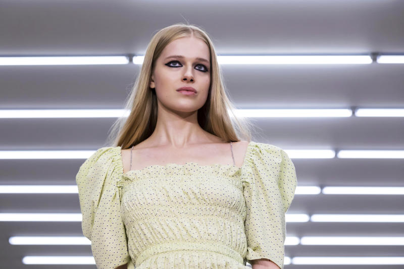 A model wears a creation by Roberta Einer at the Spring/Summer 2020 fashion week runway show in London, Friday, Sept. 13, 2019. (Photo by Grant Pollard/Invision/AP)