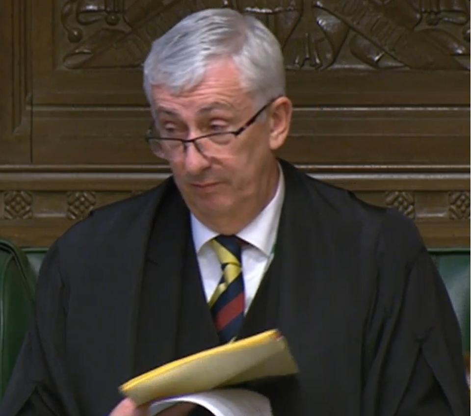 """House of Commons Speaker Sir Lindsay Hoyle reading out a statement in the House of Commons, London, prior to Prime Minister's Questions, in which he said the Government has shown a """"total disregard"""" for Parliament with its handling of Covid-19 regulations and that he would not select any amendments to the motion to renew the Covid-19 regulations to avoid �uncertainty� and possible legal challenges."""