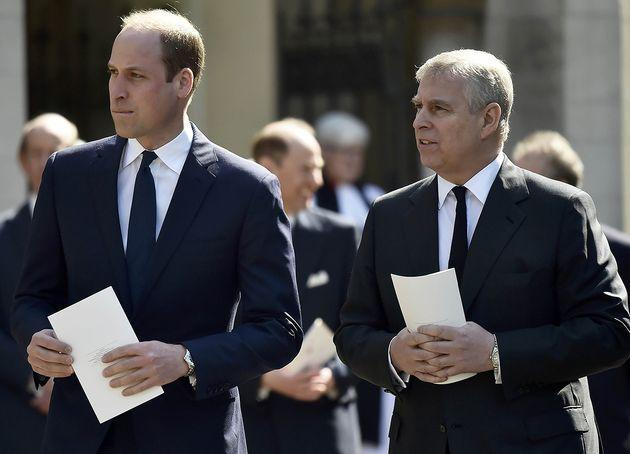 LONDON, ENGLAND - APRIL 07: Prince William, Duke of Cambridge and Prince Andrew, Duke of York leave a Service of Thanksgiving for the life and work of Lord Snowdon at Westminster Abbey on April 7, 2017 in London, United Kingdom.  (Photo by Hannah McKay - WPA Pool /Getty Images) (Photo: WPA Pool via Getty Images)