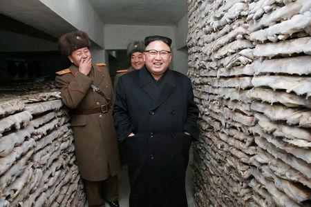 FILE PHOTO - North Korean leader Kim Jong Un is pictured at the Headquarters of Large Combined Unit 966 of the Korean People's Army