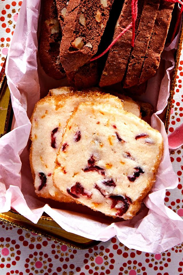 """<p><strong>Recipe: <a href=""""https://www.southernliving.com/recipes/cranberry-orange-butter-cookies"""">Cranberry-Orange Butter Cookies</a></strong></p> <p>Add an extra festive note to classic butter cookies with cranberry and orange. Freeze the rectangular roll of the dough before thawing to slice-and-bake later. </p>"""