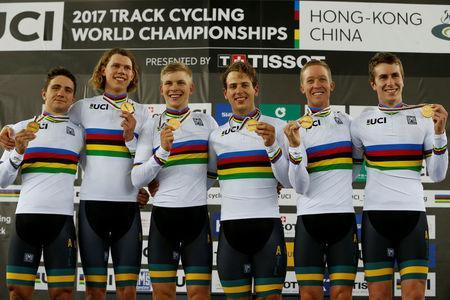 Cycling - UCI Track World Championships - Men's Team Pursuit, Final - Hong Kong, China – 13/4/17 - Team Australia celebrate with gold medals. REUTERS/Bobby Yip
