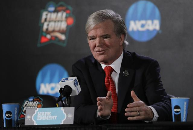 NCAA president Mark Emmert doesn't have the courage to make an appearance at the federal fraud trial in New York. (AP)