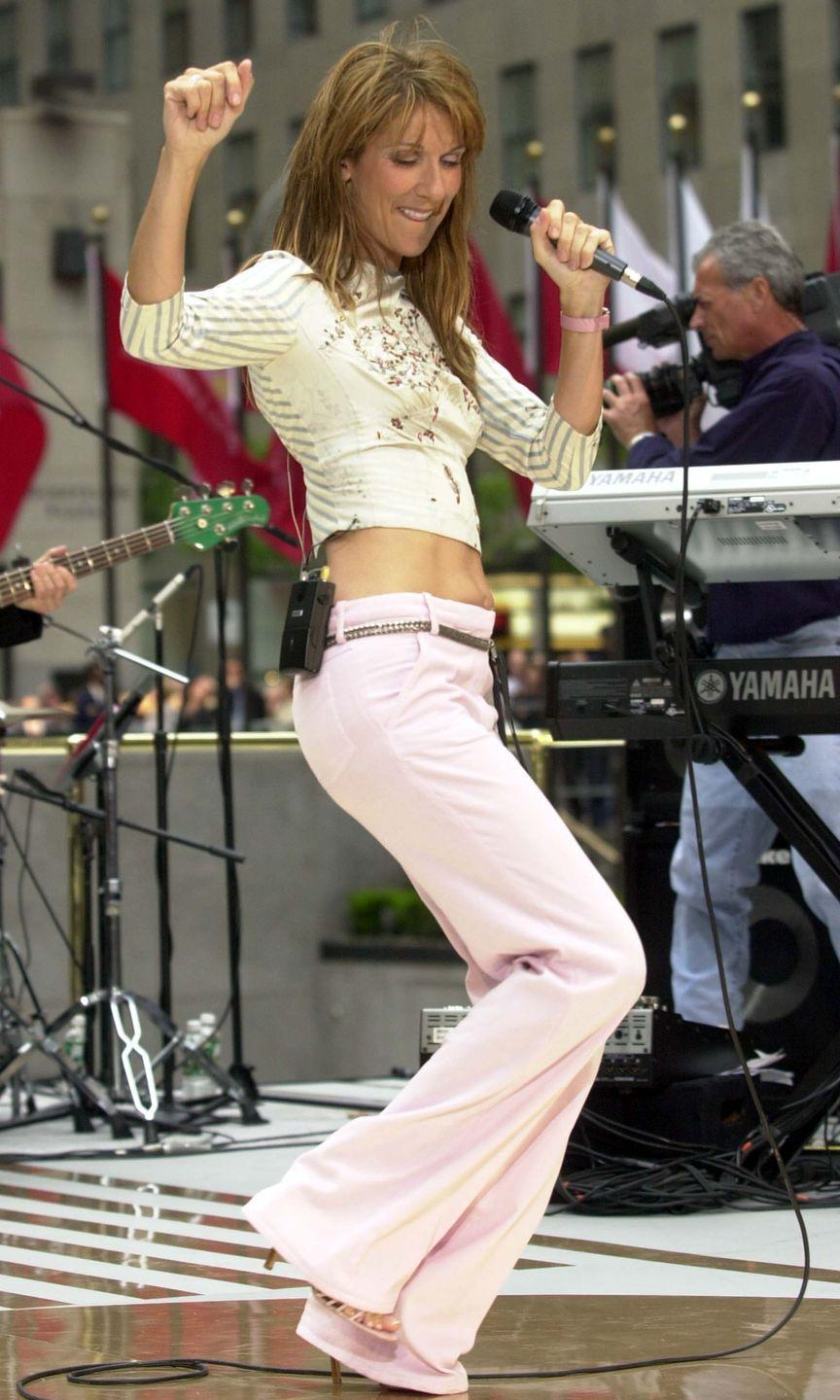 <p>The origination of Dion's pink low-rise jeans was on this episode on <em>The Today Show</em>. She paired them with a very early-2000s top, a skinny belt, and strappy heels.</p>