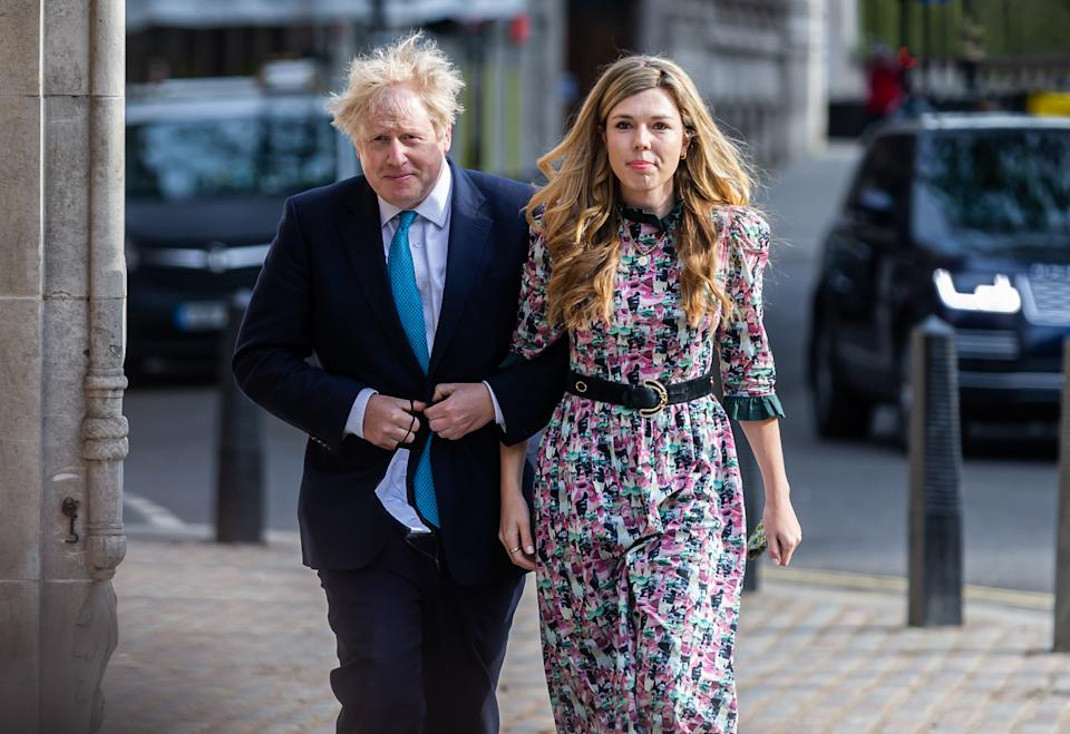 Prime Minister Boris Johnson and his fianc Carrie Symonds cast their votes in the loc council and mayoral elections at on 6th May 2021 in London, UK. (Photo byTejas Sandhu/MI News/NurPhoto via Getty Images)