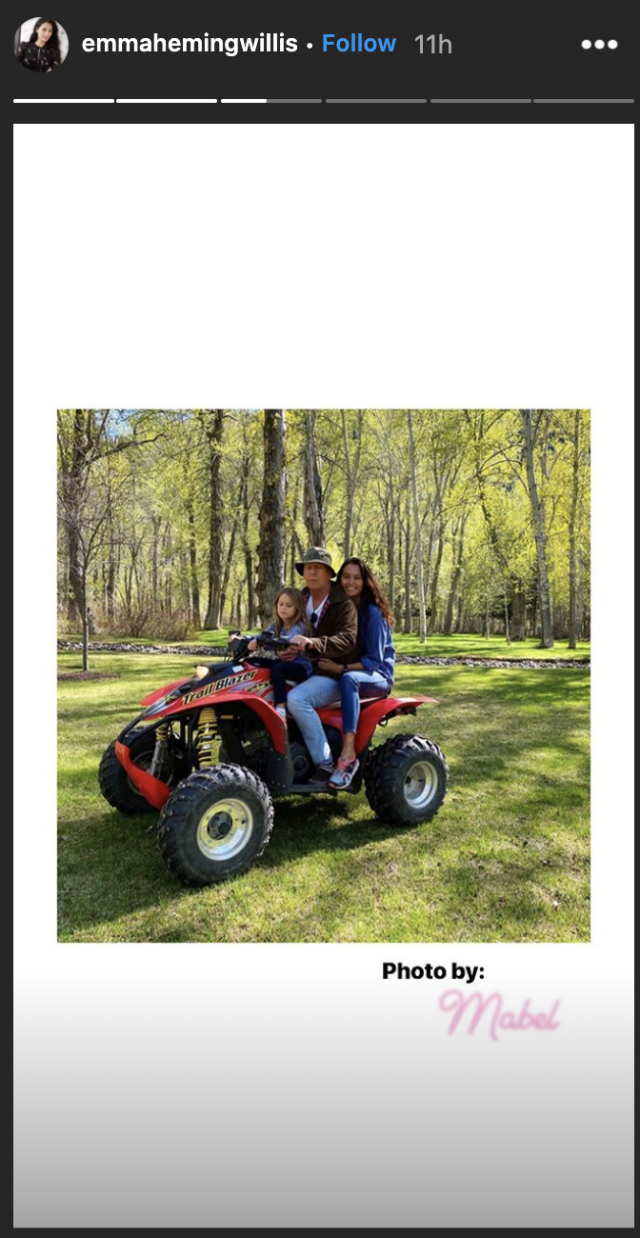 Evelyn, Bruce and Emma ride on a four-wheeler. (Screenshot: Emma Heming Willis)