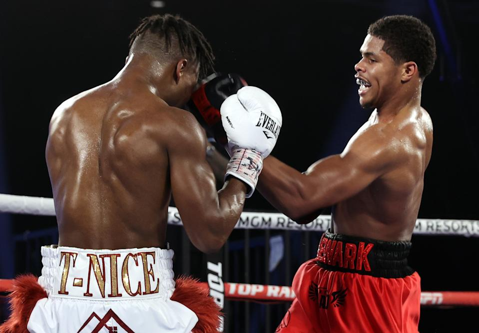 LAS VEGAS, NV - DECEMBER 12: Shakur Stevenson and Toka Kahn-Clary exchange punches during their fight at the MGM Grand Conference Center on December 12, 2020 in Las Vegas, Nevada. (Photo by Mikey Williams/Top Rank Inc via Getty Images)