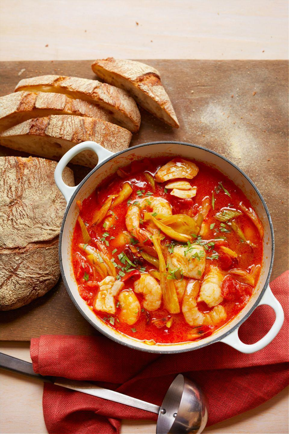 """<p>Spicy chorizo sausage gives extra oomph to this seafood and tomato-packed stew.</p><p><em><a href=""""https://www.womansday.com/food-recipes/food-drinks/recipes/a11362/seafood-chorizo-vegetable-stew-recipe-wdy1013/"""" rel=""""nofollow noopener"""" target=""""_blank"""" data-ylk=""""slk:Get the recipe from Woman's Day »"""" class=""""link rapid-noclick-resp"""">Get the recipe from Woman's Day »</a></em></p>"""